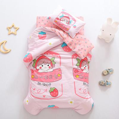 2021全棉无荧光幼儿园套件 3斤丝棉款六件套 草莓姑娘