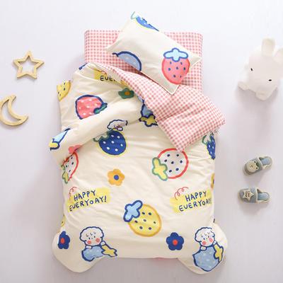 2021全棉无荧光幼儿园套件 3斤丝棉款六件套 奶油草莓