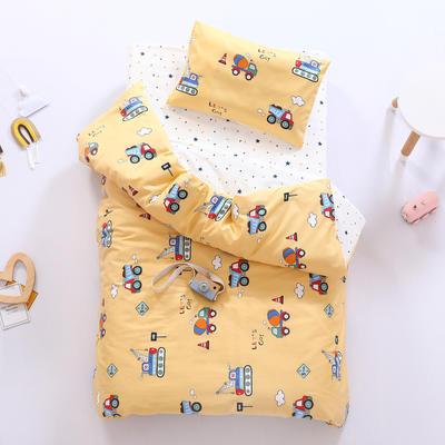 2021新款60支贡缎全棉婴童套件长绒棉儿童套件 被套 好多车黄
