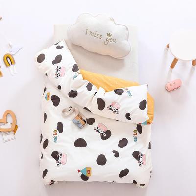 2021新款60支贡缎全棉婴童套件长绒棉儿童套件 被套 奶牛小屋
