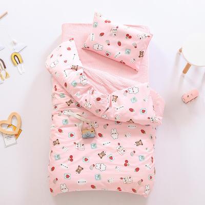 2021新款60支贡缎全棉婴童套件长绒棉儿童套件 被套 牛奶小兔