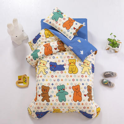 2021全棉无荧光幼儿园套件 2斤丝棉款六件套 腮红小熊