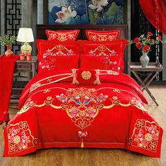 婚庆四件套大红床上用品结婚套件-花型(总) 2.0m(6.6英尺)床 全棉-鸳鸯情深