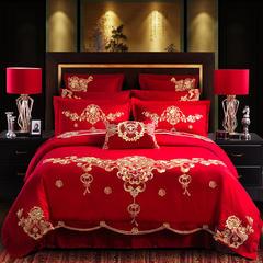 2018新款婚庆四件套刺绣多件套全棉绣花结婚床品 1.5m(5英尺)床 花开盛世