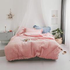 2018新款水晶绒绗缝竖条四件套 1.5m(5英尺)床 竖条—豆沙