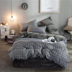 棉加绒四件套 小号(1.2m床) 格调黑-棉加绒