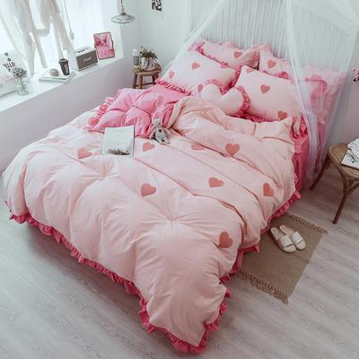 2018新款-全棉韩版毛巾绣四件套床裙款 三件套1.2m(4英尺)床 爱心  红玉