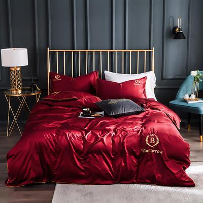 2019新款水洗真丝四件套 1.8m床单款四件套 都市-浪漫酒红