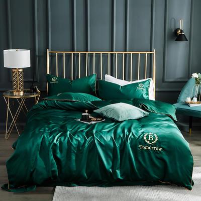 2019新款水洗真丝四件套 1.2m床单款三件套 都市-魅惑绿