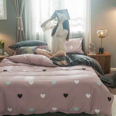 2019新款40支133*72全棉水晶绒四件套 1.2m床单款三件套 棉绒甜蜜的爱