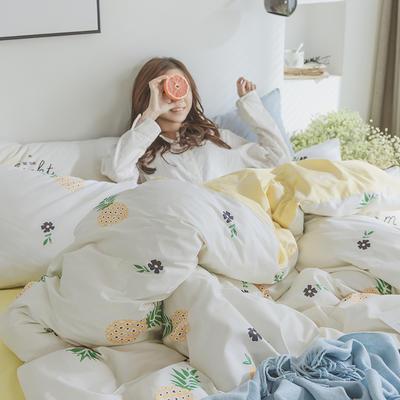 2019新款纯棉简约卡通动物果蔬四件套 0.9m床单款三件套 菠萝