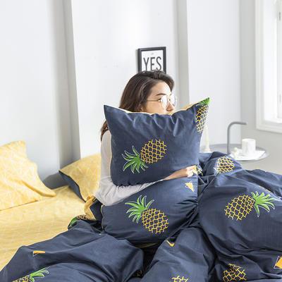 2019新款纯棉简约卡通动物果蔬四件套 0.9m床单款三件套 菠萝蓝