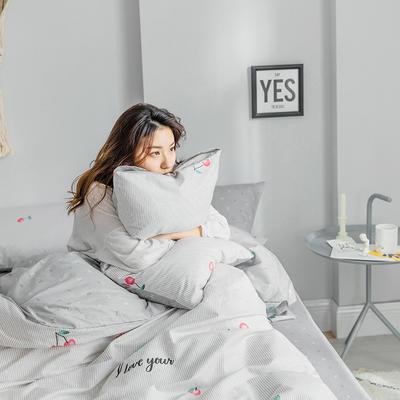 2019新款纯棉简约卡通动物果蔬四件套 0.9m床单款三件套 樱桃