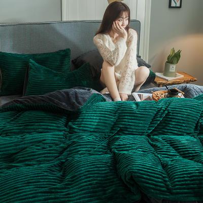 2019新款魔法绒四件套 1.2m床单款三件套 魔法绒 -墨绿色