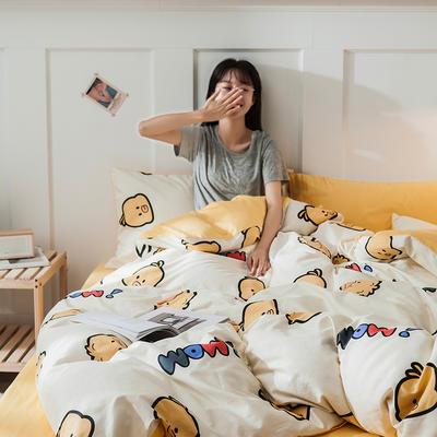 2019新款纯棉13372全尺寸宿舍 家用四件套 0.9m床笠款三件套 哎鸭鸭
