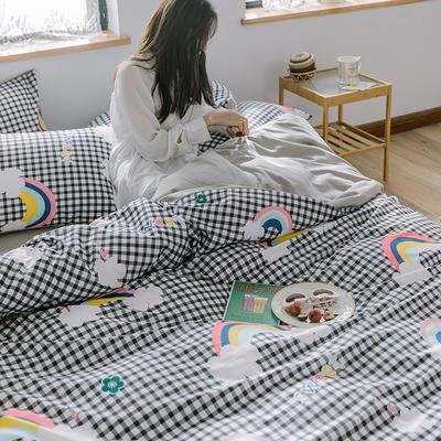 2020新款全棉13372系列四件套 1.2m床单款四件套 格子彩虹