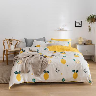 2020新款全棉13372系列四件套 1.2m床单款四件套 大柠檬