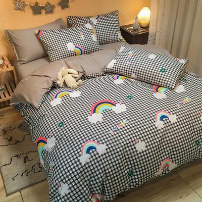 2020新款全棉13372三件套-实拍 1.2m床单款三件套 格子彩虹