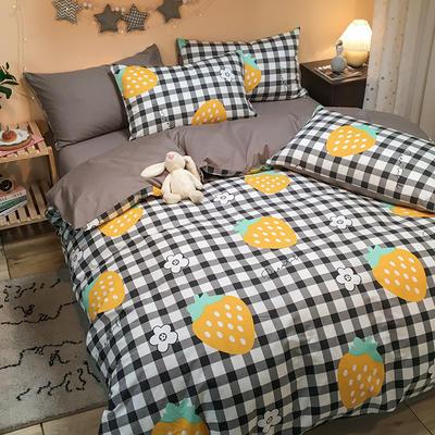 2020新款全棉13372三件套-实拍 1.2m床单款三件套 黄草莓
