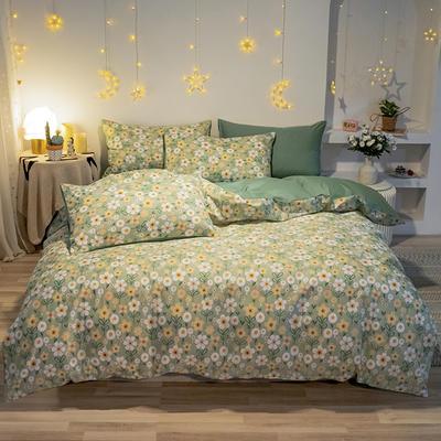 2020新款全棉13372四件套-實拍 1.2m床單款三件套 花藝綠