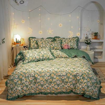 2020新款40全棉13372裙边工艺款四件套 1.2m床单款三件套 花艺绿