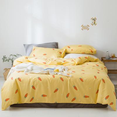 2020新款全棉13372小清新四件套 1.2m床单款三件套 趣味萝卜黄