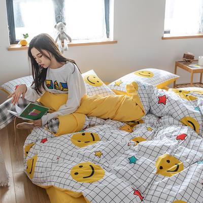 2020新款全棉13372小清新四件套 1.2m床单款三件套 微笑每一天