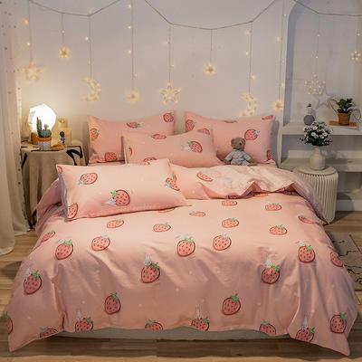 2020新款全棉13372四件套-实拍 1.2m床单款三件套 新草莓兔