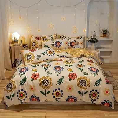 2020新款全棉13372四件套-实拍 1.2m床单款三件套 幸福花 黄