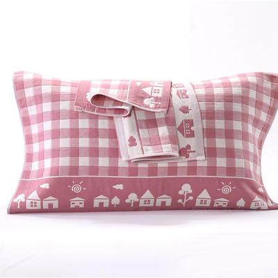 三层温馨之家纱布枕巾-3 3