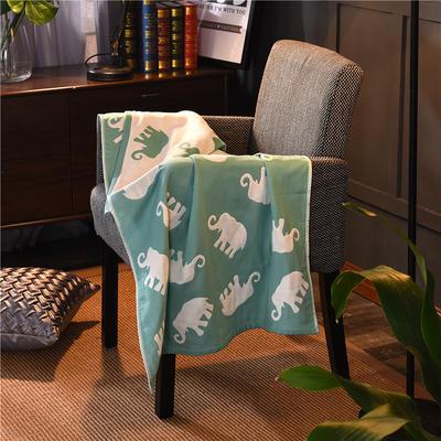 三层浴巾深色背景大象 绿色 70*140cm 绿色