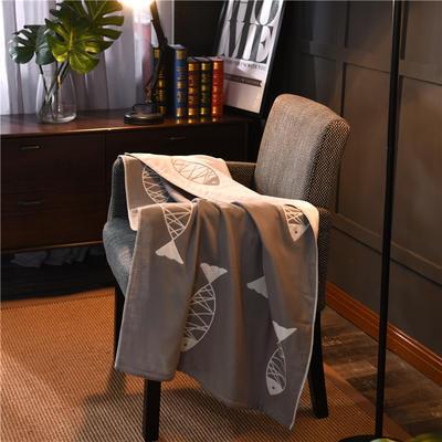 浴巾 深色背景鱼 灰色 70*140cm 灰色