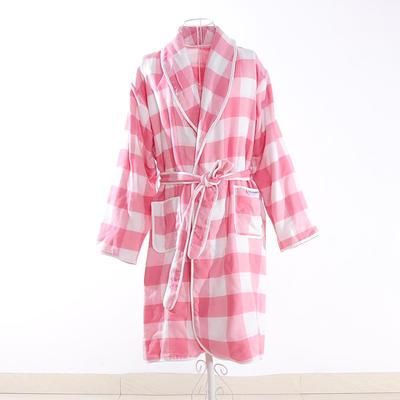 浴袍系列四层浴袍700克 粉格 衣长100cm 粉格