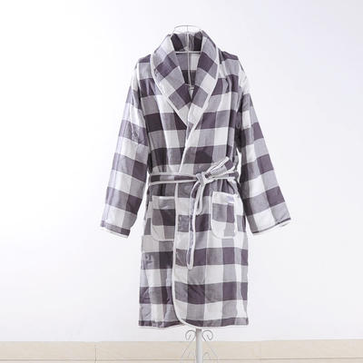 浴袍系列四层浴袍700克 灰格 衣长100cm 灰格