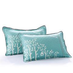 枕巾枕套 全棉色织提花三层锁边枕套 树叶悠悠孔雀绿 孔雀绿(内径45*70外径52*78)对