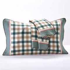 枕巾枕套 全棉色织提花三层锁边枕套 小格子绿 绿(内径45*70外径52*78)/对