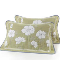 枕巾枕套 大版提花6层枕巾 爱莲绿53*83cm 绿