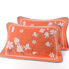 枕巾枕套 大版提花6层枕巾 白玉兰桔53*83cm 桔