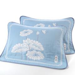 枕巾枕套 大版提花6层枕巾 哓荷蓝53*83cm 蓝