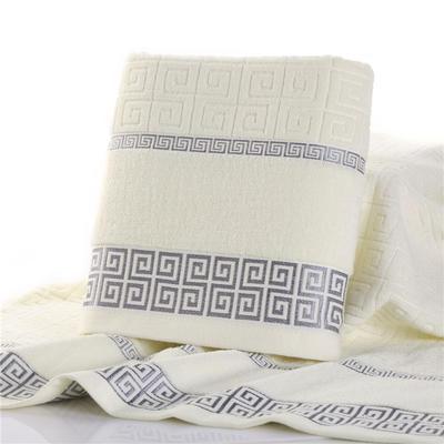毛巾浴巾 长城格浴巾  米白70*140cm 米白
