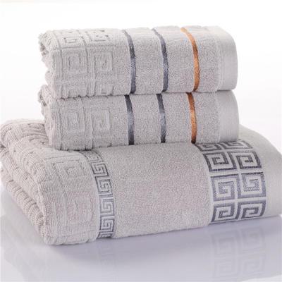 毛巾浴巾 长城格毛浴巾  毛巾+浴巾套装 卡其 卡其