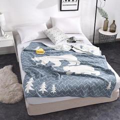 2018新款盖毯系列4层AB纱盖毯 北极熊 可加枕巾 静谧蓝 150*200cm 静谧蓝