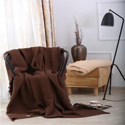 2018新款盖毯系列 蜂巢系列盖毯 流苏大蜂巢 咖啡色 200*220 咖啡色