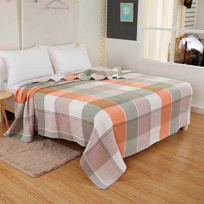 2018新款盖毯系列 三层纱布盖毯-多彩系列 大格 桔 150*200 桔