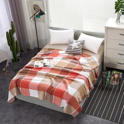 2018新款盖毯系列 三层纱布盖毯-多彩系列 大格 红 150*200 红