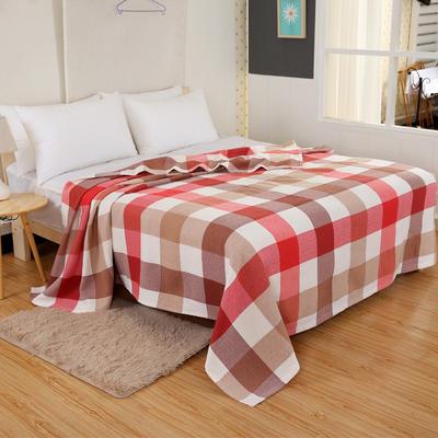 2018新款盖毯系列 三层纱布盖毯-多彩系列 小格 红 150*200 红