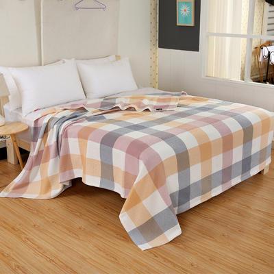 2018新款盖毯系列 三层纱布盖毯-多彩系列 小格 桔 150*200 桔