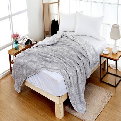 2018新款盖毯系列 三层水洗棉盖毯(总) 1.5米 秋之物语 灰色