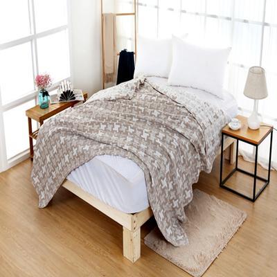 2018新款盖毯系列 三层水洗棉盖毯 风车 卡其 1.5米 卡其