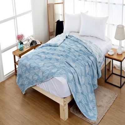 2018新款盖毯系列 三层水洗棉盖毯 秋之物语 蓝色 1.5米 蓝色